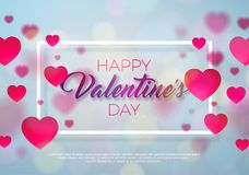 Happy Valentines Day Design with Red Heart on Shiny Pink Background. Vector Wedding and Love Theme Illustration for. Greeting Card, Party Invitation or Promo Royalty Free Stock Images