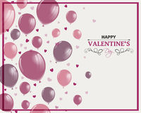 Happy Valentines Day Design with Rose Balloons Royalty Free Stock Photo