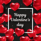 Happy Valentines day design. Vector illustration. Black background with red hearts. Border with text and balloons. Wedding elements. Valentine SMM template Stock Photography