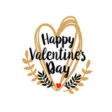 Happy Valentines Day on doodle heart Stock Images