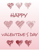Happy Valentines day, doodle hearts Royalty Free Stock Photography