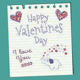 Happy Valentines Day Doodle On Notepaper. With a cute elephant spraying hearts Royalty Free Stock Photography