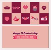 Happy Valentines day double side greeting card in vector stock illustration