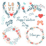 Happy Valentines day elegant graphic elements collection Royalty Free Stock Photo