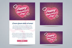 Happy Valentines Day Email Template Royalty Free Stock Photography