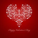 Happy Valentines Day Embossed Leaf Vine Hearts. Motif Illustration Red stock illustration
