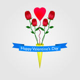 Happy Valentines Day with red roses, pink heart Royalty Free Stock Photography