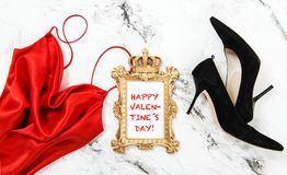 Happy Valentines Day Fashion flat lay Red dress Royalty Free Stock Photo