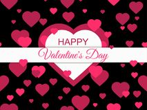 Happy Valentines Day, 14 February. Greeting card background with hearts. Vector. Illustration Royalty Free Stock Photos