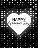 Happy Valentines Day, 14 February. Halftone dotted background for greeting card background with hearts. Graphic design. Black and white typography. Vector Royalty Free Stock Images