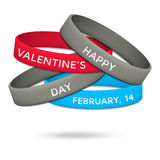 Happy Valentines Day, February, 14 rubber wristbands Stock Photos