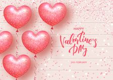 Happy Valentines Day Festive Card. Beautiful Background with heart shaped air balloons on Wooden Texture. Vector. Illustration Stock Photography