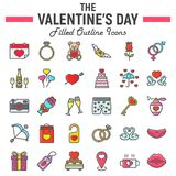 Happy Valentines Day filled outline icon set. Holiday symbols collection, vector sketches, logo illustrations, wedding signs colorful line pictograms package Stock Photo