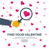 Happy Valentines Day. Find Your Valentine. Vector flat illustration. Stock Photos