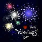Happy valentines day with fireworks. Lettering composition in ve. Happy valentines day with fireworks. Fireworks on night sky. Lettering composition in vector Royalty Free Stock Photos