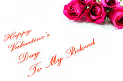 Happy Valentines Day. Five pink roses for my beloved Valentine Royalty Free Stock Image