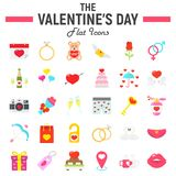 Happy Valentines Day flat icon set. Holiday symbols collection, vector sketches, logo illustrations, wedding signs colorful solid pictograms package isolated Royalty Free Stock Photos