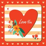 Happy valentines day floral card. Stock Photo
