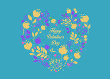 Happy Valentines Day. Floral Heart Stock Photos