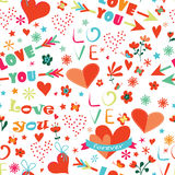 Happy Valentines Day floral seamless pattern Stock Photos