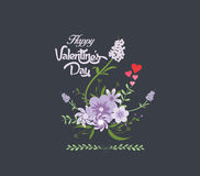 Happy valentines day with flower purple romantic Stock Photography