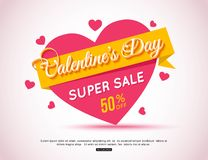 Happy Valentines Day Flyer. Template for creating Advertising Banners, Brochures, Booklets, Posters, Sales leaflets Stock Photos