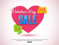 Happy Valentines Day Flyer. Template for creating Advertising Banners, Brochures, Booklets, Posters, Sales leaflets Royalty Free Stock Photography