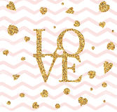 Happy valentines day flyer. Happy valentines day and weeding design elements. Vector illustration invitation, menu, flyer, template. Gold glitter lettering Love Stock Photo
