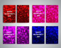 Happy Valentines Day Flyers. With shiny hearts. Vector design for your banners, cards, flyers, brochures, posters, banners etc. Vector holiday design Royalty Free Stock Images