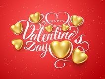 Happy Valentines day. Font composition golden realistic heart  on red background. Vector beautiful Holiday. Romantic illustration. Paper craft style. Wallpaper Royalty Free Stock Image