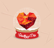 Happy valentines day with geometrical heart globe Royalty Free Stock Image