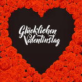 Happy Valentines Day German Language Card. Black Heart Shape on Rose Flowers Background.. Wedding Poster Stock Photo