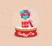 Happy valentines day with gift balloon heart globe Royalty Free Stock Images