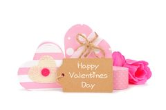 Happy Valentines Day gift tag with pink heart-shaped gift boxes Royalty Free Stock Photography