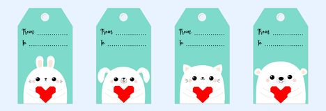 Happy Valentines Day gift tag set. Bear cat kitten rabbit hare dog puppy head face holding red origami paper heart. Cute cartoon. Kawaii funny baby character royalty free illustration