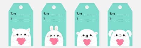 Happy Valentines Day gift tag set. Bear dog puppy cat kitten rabbit hare face head holding pink paper heart. Cute cartoon kawaii. Funny baby character. Flat vector illustration