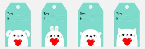 Happy Valentines Day gift tag set. Bear dog puppy cat kitten rabbit hare head face holding red paper heart. Cute cartoon kawaii. Funny baby character. Flat vector illustration