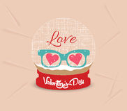 Happy valentines day with glasses heart globe Stock Image