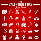 Happy Valentines Day glyph icon set. Holiday symbols collection, vector sketches, logo illustrations, wedding signs solid pictograms package isolated on red Stock Photography