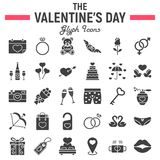 Happy Valentines Day glyph icon set. Holiday symbols collection, vector sketches, logo illustrations, wedding signs solid pictograms package isolated on white Stock Image