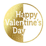 Happy Valentines Day. In gold Royalty Free Stock Photos