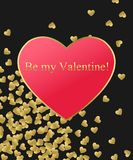 Happy Valentines Day Gold Background. Gold and red heart with golden text. Template for creating Greeting card, Wedding Royalty Free Stock Image