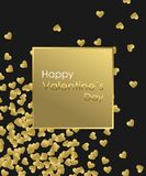 Happy Valentines Day Gold Background. Golden heart, golden frame and golden text. Template for creating Greeting card Royalty Free Stock Photography