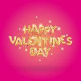 Happy Valentines day gold balloons Stock Image