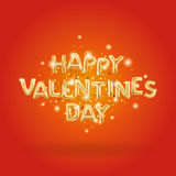 Happy Valentines day gold balloons Stock Photography