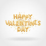 Happy Valentines day gold balloons Stock Images