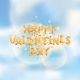 Happy Valentines day gold balloons Stock Photos