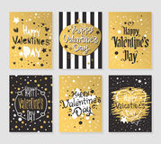 Happy Valentines Day gold and black greeting cards vector illustration Royalty Free Stock Photography