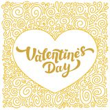 Happy Valentines Day gold foil Inscription and curls pattern. 14th of february greeting card on white background. Vector illustration Stock Photo