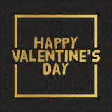 Happy Valentines Day Gold letters. Greating card  illustration Stock Photo
